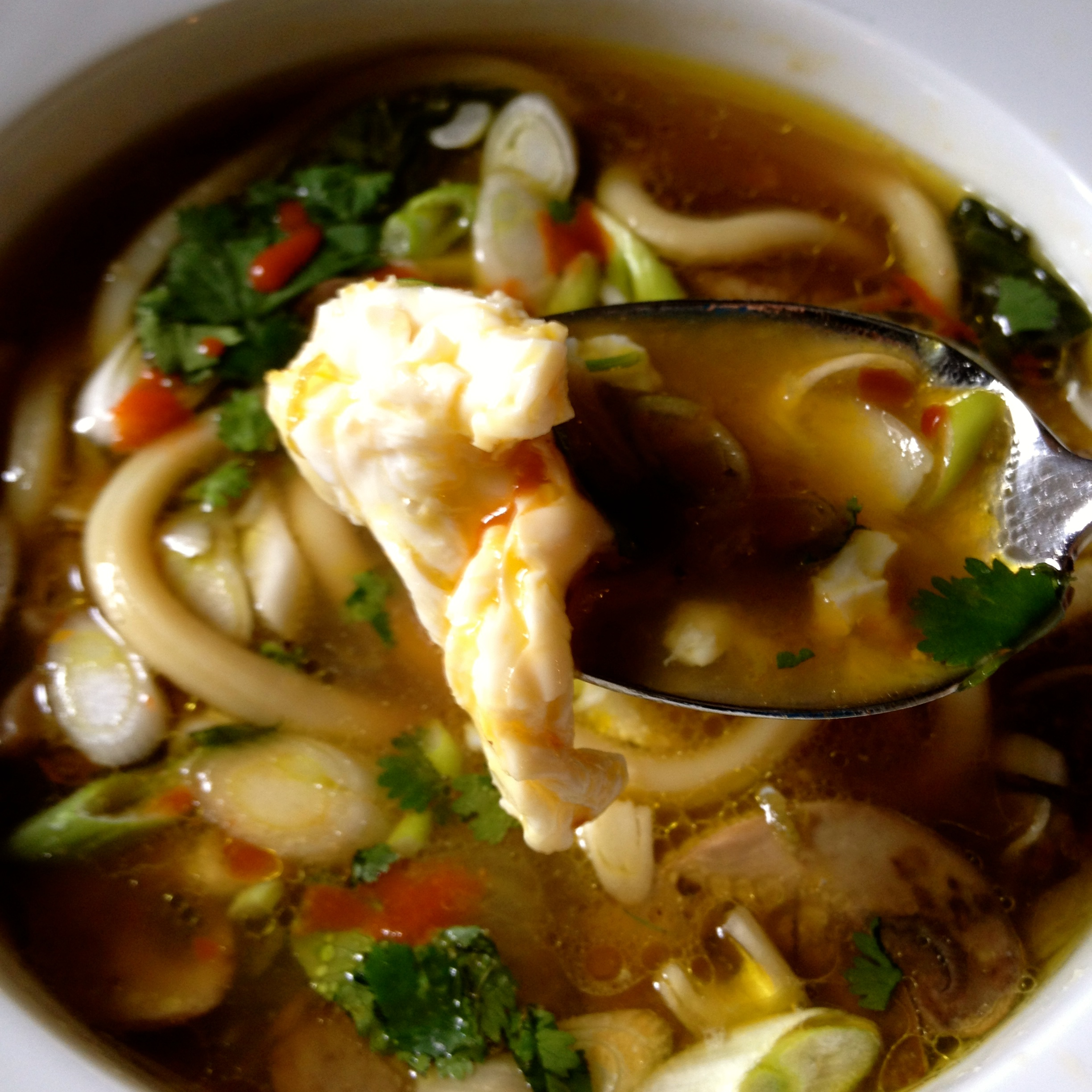 Udon Noodle Soup with Bok Choy and Mushrooms